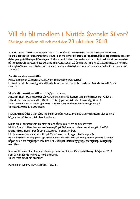 Vill du bli medlem i Nutida Svenskt Silver? Förlängd ansökan till och med den 28 oktober 2018