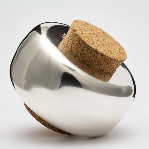 Burk i silver med lock av kork, Magnus Liljedahl